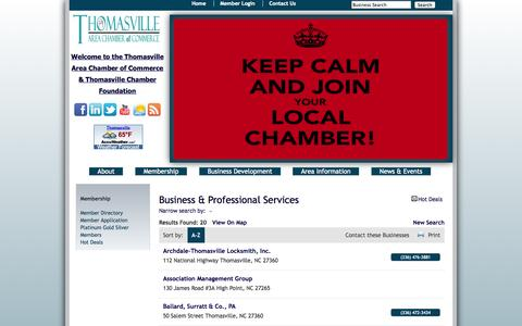 Screenshot of Services Page thomasvillechamber.net - Business & Professional Services - Thomasville Area Chamber of Commerce - captured Oct. 7, 2014