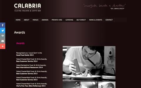 Screenshot of Team Page calabriacucina.co.uk - Awards - Calabria Italiana & Caffè Bar - Italian Restaurant, Glumangate Chesterfield - captured Oct. 16, 2016