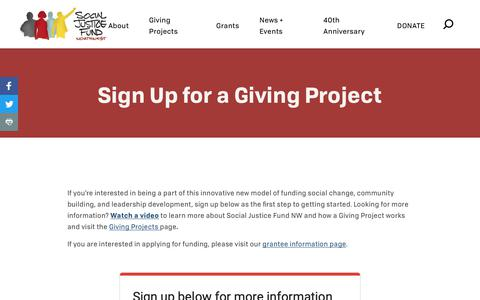 Screenshot of Signup Page socialjusticefund.org - Sign Up for a Giving Project - Social Justice Fund NW - captured Oct. 18, 2018