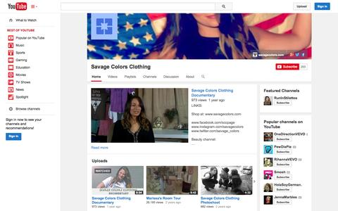 Screenshot of YouTube Page youtube.com - Savage Colors Clothing  - YouTube - captured Oct. 23, 2014