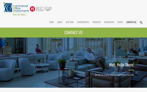Screenshot of Contact Page coeindy.com - Contact Us - Commercial Office Environments - captured Sept. 28, 2018