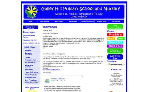 Screenshot of Testimonials Page galleyhill.herts.sch.uk - Galley Hill Primary School and Nursery - captured May 25, 2016