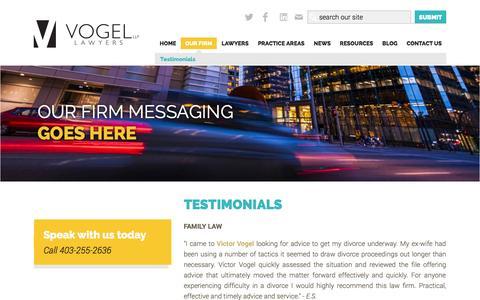 Screenshot of Testimonials Page vogel-llp.ca - Testimonials   Vogel LLP - captured Oct. 9, 2014