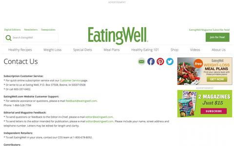 Screenshot of Contact Page eatingwell.com - Contact Us - EatingWell - captured Nov. 3, 2018