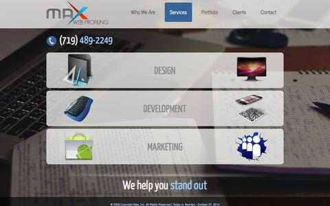 Screenshot of Services Page themaxinc.com - Website Design | Online Marketing | Development Experts | Pueblo | Colorado Springs - captured Oct. 27, 2014