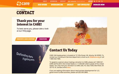 Screenshot of Contact Page care.org - Contact | CARE - captured Sept. 25, 2014