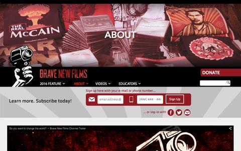 Screenshot of About Page bravenewfilms.org - About - Brave New Films - captured Jan. 17, 2016
