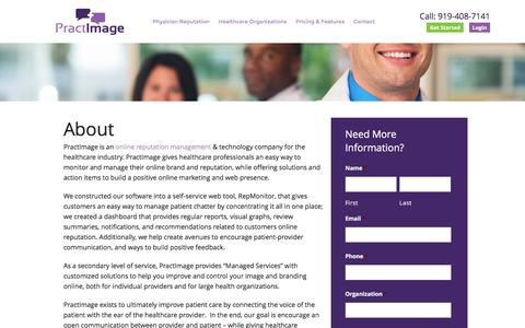 Screenshot of About Page practimage.com - Doctor Reputation ManagementPractImage - captured Dec. 10, 2015
