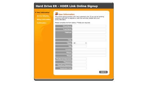 Screenshot of Signup Page userservices.net - Hard Drive ER - HDER Link Online Signup - captured March 3, 2016