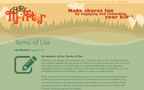 Screenshot of Terms Page choremonster.com - Terms of Use | ChoreMonster - captured July 18, 2014