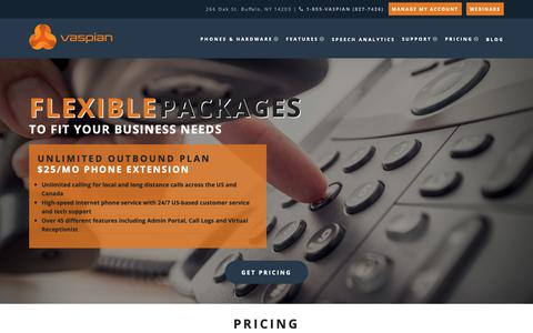 Screenshot of Pricing Page vaspian.com - Small Business VoIP Phone Service Plans & Pricing in Buffalo, NY | Vaspian - captured Oct. 20, 2018