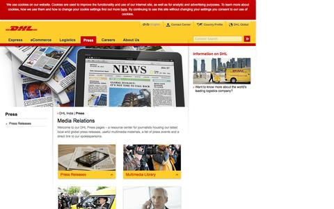 Screenshot of Press Page dhl.co.in - DHL | Press | English - captured Dec. 23, 2016