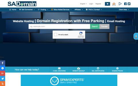 Screenshot of Home Page sadomain.co.za - Web Hosting and Domain Registrations South Africa | sadomain.co.za - captured Nov. 7, 2018