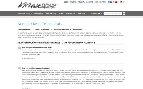 Screenshot of Testimonials Page manitoupontoonboats.com - Testimonials | Manitou Pontoon Boats - captured Sept. 19, 2014