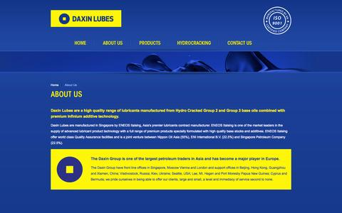 Screenshot of About Page daxinlubes.com - Daxin Lubes - Niugini Oil Company - captured Oct. 7, 2014