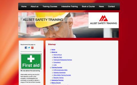 Screenshot of Site Map Page allsetsafetytraining.co.uk - Enroll With Allset Safety Training Ltd - captured Sept. 30, 2014