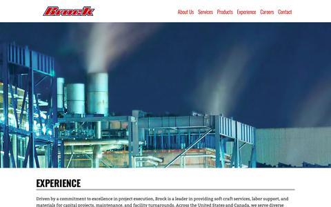 Screenshot of Case Studies Page brockgroup.com - Experience - Brock Group - captured Oct. 6, 2018