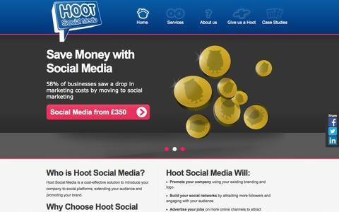 Screenshot of Home Page hootsocialmedia.co.uk - Social Media Agency | Business Social Media | HootSocialMedia.co.uk - captured Sept. 30, 2014