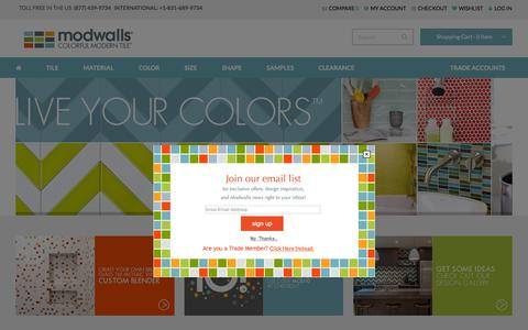 Screenshot of Home Page modwalls.com - Modwalls - Colorful Modern Tile - captured Oct. 1, 2015