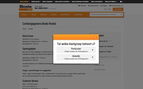 Screenshot of Contact Page boels.nl - Contactgegevens Boels Rental - captured Sept. 18, 2016