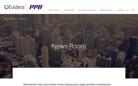 Screenshot of Press Page evidera.com - News Room | Evidera - captured Sept. 24, 2018
