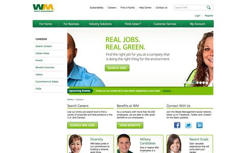 Screenshot of Jobs Page wm.com - Careers | Waste Management - captured Oct. 30, 2015