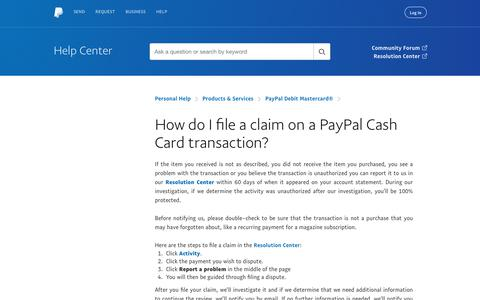 How do I file a claim on a PayPal Cash Card transaction?