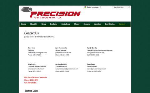 Screenshot of Contact Page precisionfuel.com - Contact Us Today | Precision Fuel Components, LLC - captured Oct. 3, 2014