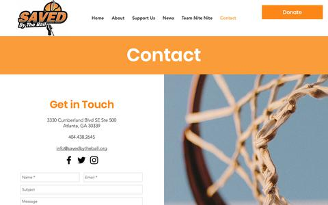 Screenshot of Contact Page savedbytheball.org - Saved By The Ball   Contact - captured Dec. 17, 2018