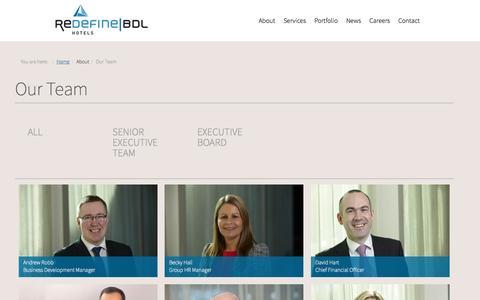Screenshot of Team Page redefinebdl.com - Our Team - captured Sept. 22, 2015