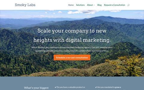 Screenshot of Home Page smokylabs.com - Smoky Labs | B2B Digital & Inbound Marketing - captured Dec. 15, 2015