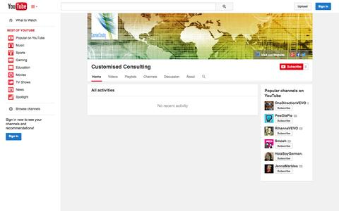 Screenshot of YouTube Page youtube.com - Customised Consulting  - YouTube - captured Oct. 23, 2014