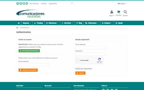 Screenshot of Login Page crsl.es - Login - Comunicaciones Reunidas, S.L. - captured Sept. 28, 2018
