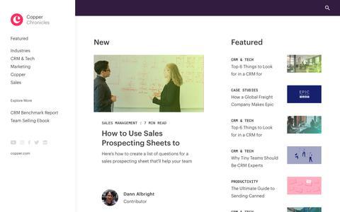 Screenshot of Blog copper.com - Relationship Marketing, CRM & Sales Tips | Copper Blog - captured Feb. 8, 2019