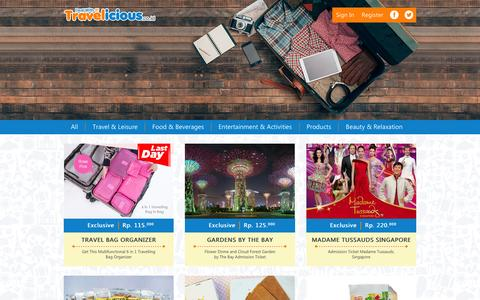 Screenshot of Products Page travelicious.co.id - Deal - Products - captured Jan. 24, 2016