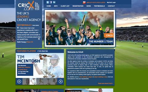 Screenshot of Home Page cricx.com - CricX - The Cricket Exchange Agency - captured Feb. 1, 2016