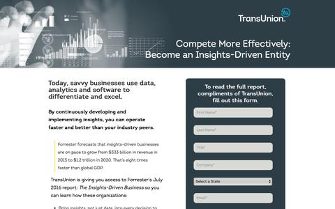 Screenshot of Landing Page transunion.com - Become an Insights-Driven Entity | TransUnion - captured Feb. 8, 2017