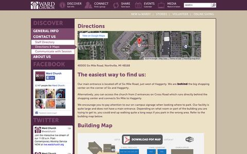 Screenshot of Maps & Directions Page wardchurch.org - Directions & Maps - Ward Church - captured Oct. 27, 2014