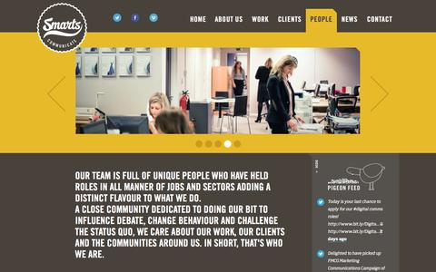 Screenshot of Team Page smartscommunicate.com - Smarts Communicate / Public Relations / Design / Digital / Belfast / Public Relations Belfast, PR Northern Ireland by Smarts Communicate - People - captured March 13, 2016