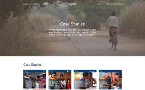 Screenshot of Case Studies Page dimagi.com - (2) New Messages! - captured July 25, 2018