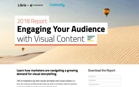 Screenshot of Landing Page photoshelter.com - 2018 Report: Engaging Your Audience With Visual Content | Libris by PhotoShelter - captured March 13, 2019
