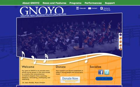 Screenshot of Home Page gnoyo.org - Greater New Orleans Youth Orchestras | Musicians of Tomorrow… Today! - captured Feb. 2, 2016