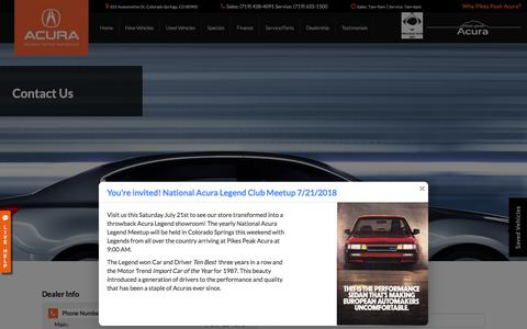 Screenshot of Contact Page pikespeakacura.com - Contact Us Pikes Peak Acura 655 Automotive Dr Colorado Springs, CO 80905 | (719) 428-4091 - captured July 18, 2018