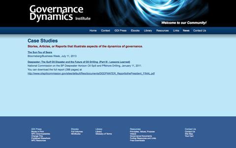 Screenshot of Case Studies Page governancedynamics.org - Case Studies | Governance Dynamics Institute - captured Oct. 3, 2014