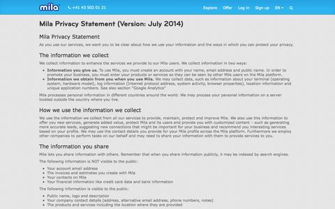 Screenshot of Privacy Page mila.com - Privacy Statement — Mila - captured Sept. 16, 2014