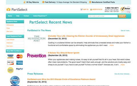 Screenshot of Press Page partselect.com - PartSelect Recent News - captured Sept. 21, 2018
