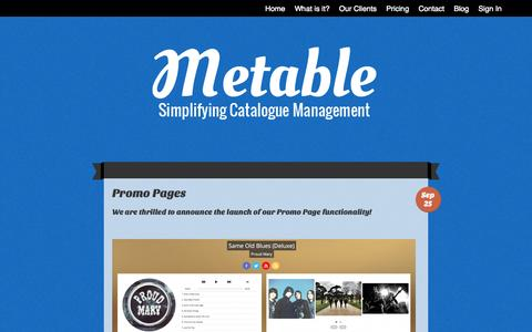 Screenshot of Blog metable.co - Metable | Simplifying Catalogue Management - captured Oct. 27, 2014