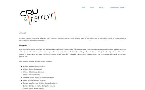 Screenshot of About Page cru-terroir.com - About - French whiskies and fine wine import agency - Vancouver, BC - captured Oct. 1, 2014