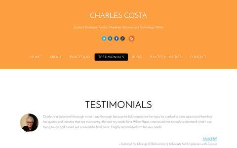 Screenshot of Testimonials Page charlescosta.net - Testimonials | Charles Costa - captured July 16, 2015