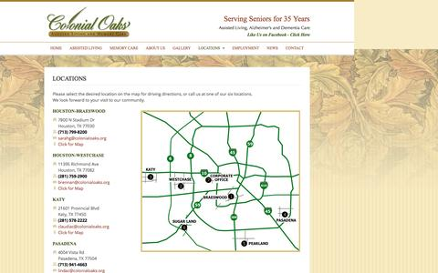 Screenshot of Locations Page colonialoaks.org - Colonial Oaks Assisted Living & Memory Care Houston - captured Nov. 24, 2016